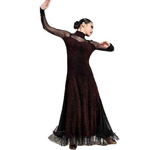 Liu Sensen Otoño Invierno Vintage Danza Vestido Oscuro Rojo ...