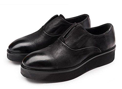 Männer Slip-On Oxford Britische Retro Big Leder Schuhe Business Casual Herren Schuhe Dick Leder Schuhe , black , 42