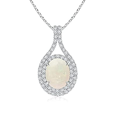 Angara Natural Opal Necklace for Women in Platinum YDafOP5