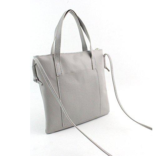 Bolsos Bandolera de Mujer, Holacha Crossbody Bolsos de Mano de Hombro de Cuero Sencillo Retro Vintage Regalo gris