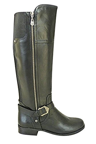 WOMENS LADIES GUESS KNEE HIGH BLACK BLOCK HEEL RIDING BIKER BOOTS STRETCH SHOES Black (988)