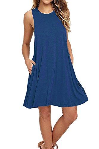 Casual Dress,Zalalus Womens Sleeveless Summer Loose T-shirt Swing Dresses with Pockets Tunic Short Shift Sundresses for Beach Travel Beja Blue Medium US 8 10