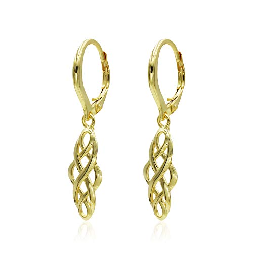 (Yellow Gold Flashed Sterling Silver Filigree Celtic Knot Spiral Twisted Leverback Dangle Earrings)