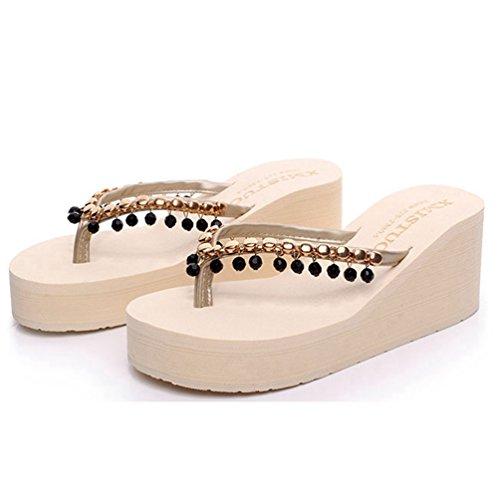 Pendentif Sandales Perlées pour Les Femmes Talons Hauts Anti-Dérapage Sandales d'été Tongs DAFNSDhTv