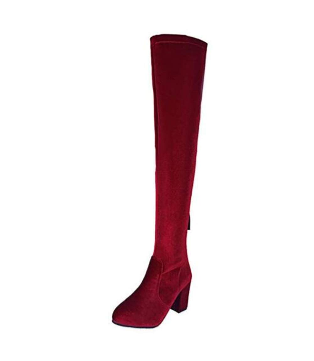 HN Stiefel Damen Oberschenkel Hoch Stiefel Stiefel Neu Sexy Blockabsatz Stretch Hohe Stiefel Stiefel Overknees Abend Größe EU 35-46 5e0949
