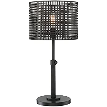 Lite Source Hamilton Black Metal Grid 1 Light Table Lamp