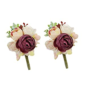 USIX 2pc Pack-Handmade Men's Lapel Artificial Peony Flower Boutonniere Pin for Suit Wedding Groom Groomsmen Brooch Rose Boutonniere (Burgundy Boutonniere x2) 1