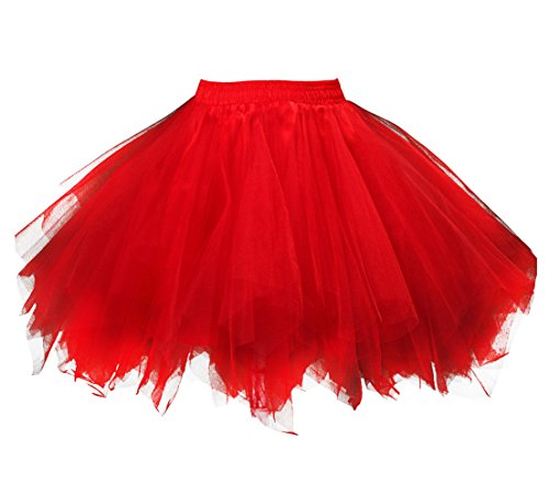 Kileyi Womens Tutu Costume Adult Party Dance Tulle Skirt Short Fluffy Petticoat Red L