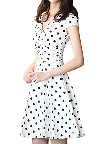 White Dotted Dress (Allegra K Ladies Crossover V Neck Cap Sleeve Lining Dotted Dress White S)