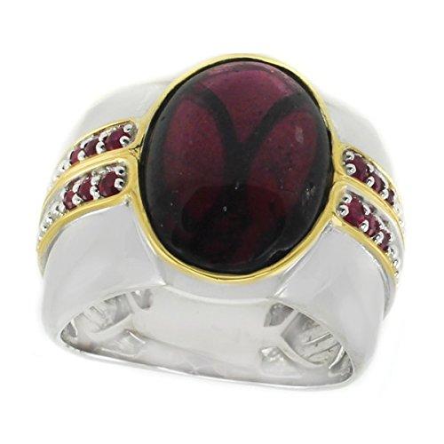 Michael Valitutti Palladium Silver Rhodolite Garnet & Ruby Men's (Vogue Ruby Ring)