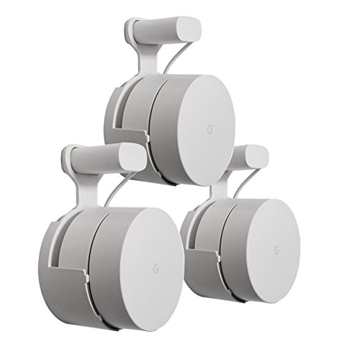 : Dot Genie Google WiFi Outlet Holder Mount: [Original and Best] USA Made - The Simplest Wall Mount Holder Stand Bracket for Google WiFi Routers and Beacons - No Messy Screws! (3-pack)