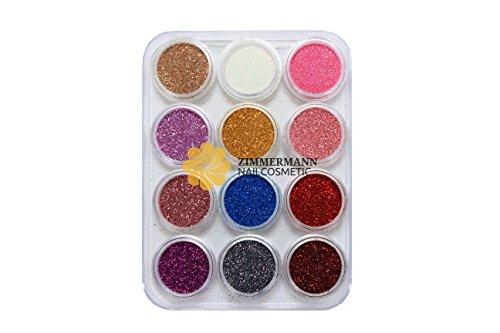 Glitterpuder Glitzerpuder Glitterstaub Glitterpulver Glitzerpulver Glimmer Nailart Nägel - 12 Farben je 5 gr. Farbset 3