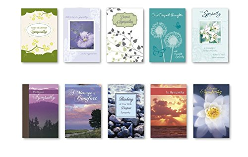 Flowers Sympathy Card (B-THERE Boxed Sympathy Cards Bulk with KJV Scripture Flowers Rocks Water Path Scenery Greeting Cards Thinking of You Sympathy, 20)