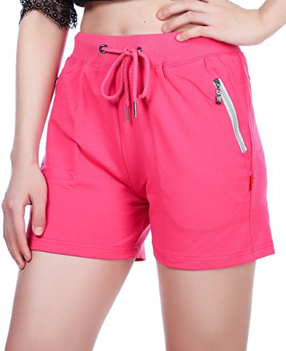 (UDIY Women's Cotton Walking Sweat Shorts Rose)