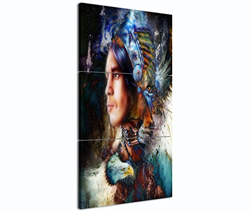 Yatsen Bridge 3 Piece Native American Indian with Eagle's feather Painting Home Wall Decor Canvas Artwork Picture for Living Room Print Painting on Canvas Framed Strong Color Style Waterproof Wall Art