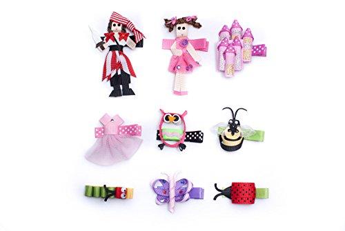 [9 pc Animal Sculpture Grosgrain Ribbon Toddler Girl Hair Clips Bow Barrettes] (Pirate Hair)
