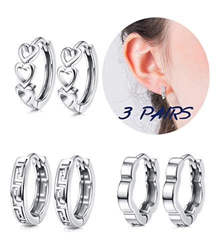 Hanpabum White Gold Plated Small Hoop Huggies Earrings Set Hollow Heart Flower Geometry Cartilage Earrings for Women