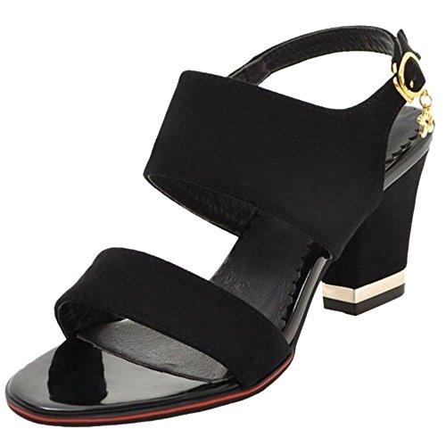 Sandalen Mini Schwarz Large Chunky mit mit SJJH für Damen Sandalen Fashion Heel 5qt4Pywp