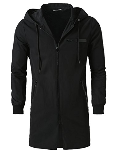 uxcell Men Casual Zip Up Wind Windbreaker Outdoor Coat Lightweight Hoodie Jacket Black M US 40
