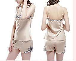 CHUNG Womens Imitation silk Sexy Cami Shorts Pajama Sets with Elegant Embrodery XS-L, Champagne, M