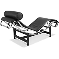 Artis Decor Le Corbusier Style LC4 Chaise Lounge Chair, Made with Genuine Top Grain Italian Leather - Black