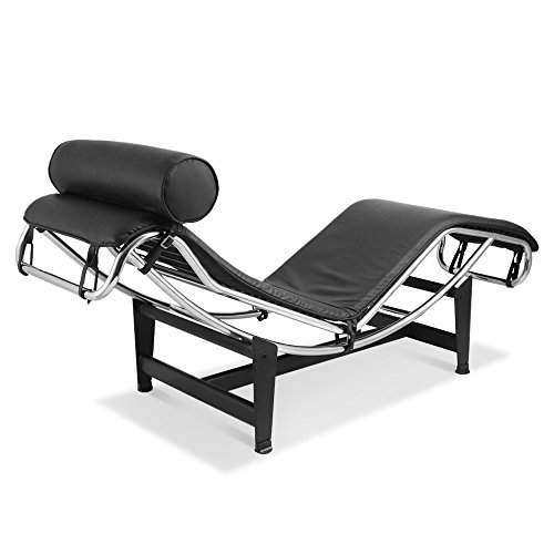 ARTIS DÉCOR Chaise Lounge Chair, Made with Genuine Top Grain Italian Leather - Black