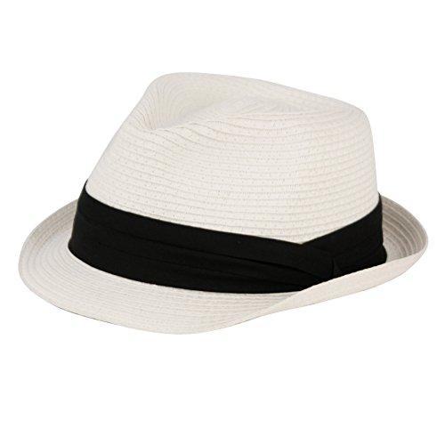 ANGELA & WILLIAM Men's Summer Stingy Short Brim Derby Fedora Pleated Hatband Hat (S/M, White)