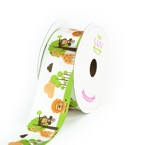 LUV RIBBONS Satin Jungle Theme Ribbon by Creative Ideas, 1-1/2-Inch, White ()