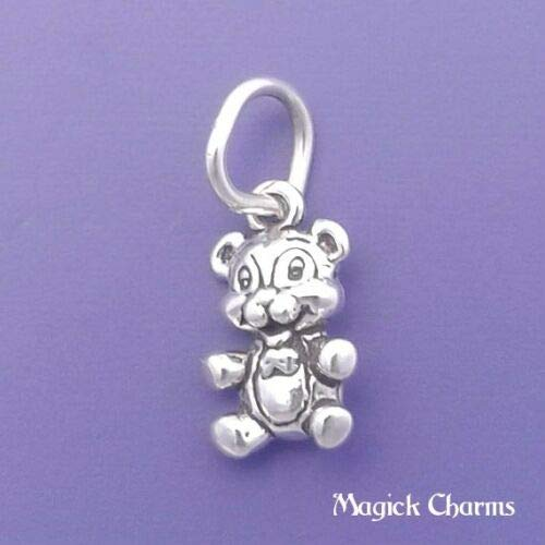(Sterling Silver Teddy Bear Charm Miniature DIY Jewelry Making Supply for Charm Pendant Bracelet by Charm Crazy )