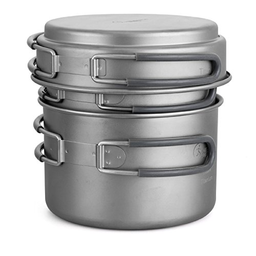 HealthPro Titanium Lightweight 3-Piece Pot and Pan Camping Hiking Cookware Set