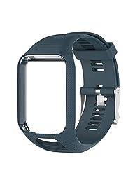 Serounder Correa de Reloj, Goma de Silicona Hombres/Mujeres Reloj Elegante Pulsera de reemplazo Ajustable Pulseras para Tomtom Runner 2 Reloj Deportivo(Azul Pizarra)