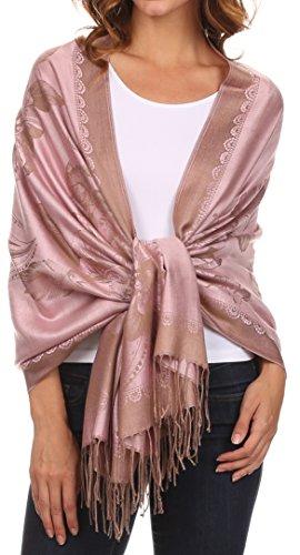 Sakkas CLDHS152 - Afreda Floral Paisley Scalloped Border Pashmina/ Shawl/ Wrap/ Stole - Blush - OS