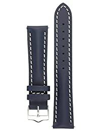 Signature Racing watch band. Replacement watch strap. Genuine Leather. Silver buckle (22 mm, Blue)