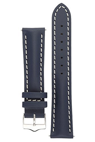 signature-racing-blue-20-mm-extra-long-watch-band-replacement-watch-strap-genuine-leather-silver-buc