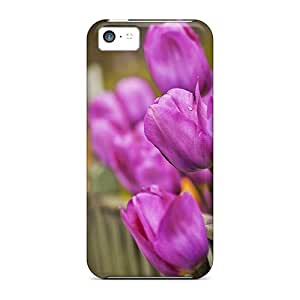 New Fashionable Randolphfashion2010 Htg32002jfKo Covers Cases Specially Made For Iphone 5c(nature Flowers Tulips Along The Fence)