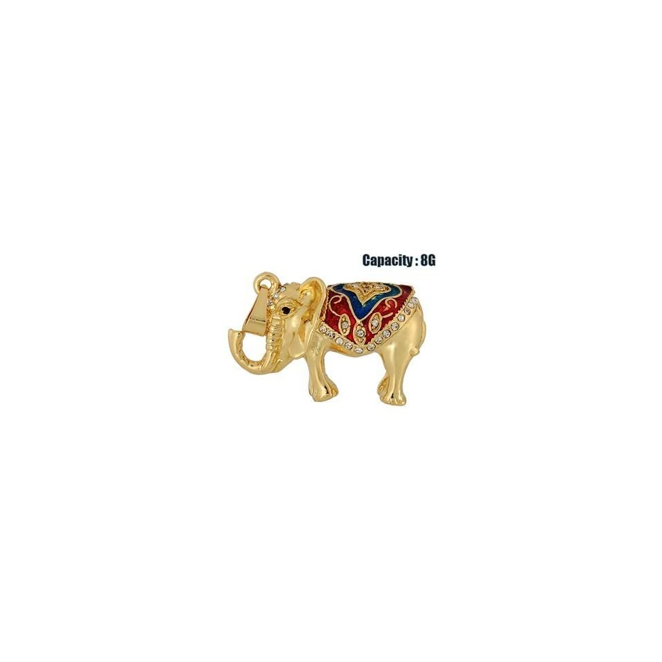 JMC092 8GB Elephant shaped USB Flash Drive with Jewelry Surface (Gold)