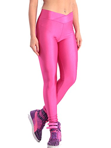 Pink Queen Womens Skinny Wet Look Flourescent Metallic Gloss Leggings Pencil Pants (L, Hot Pink) by Pink Queen (Image #3)