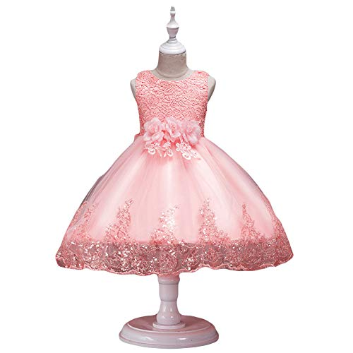 856store Comfortable Lace Flower Sequins Kids Girls Sleeveless Round Neck Wedding Princess Dress Shrimp Pink -