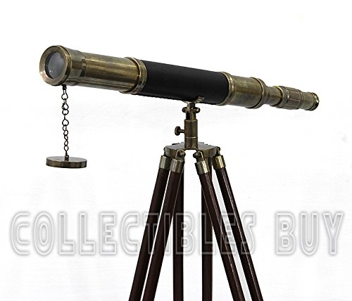 Sailor Boat Antique Telescope Black Leather Wooden Stand Marine Royal Telescopes by Collectibles Buy (Image #3)
