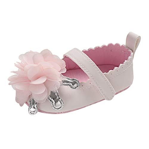 IEasⓄn_Baby Shoes ,New 0-18 Months Princess Shoes Baby Girl Cute Soft Sole Applique Firstwalk Sandals Shoes Pink ()