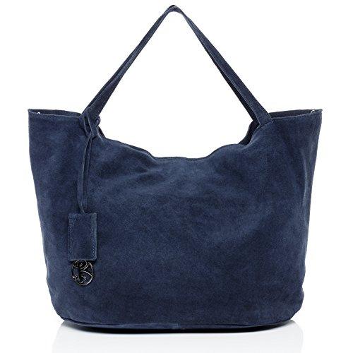 BACCINI large shoulder bag - handbag SELMA - women`s bag BLUE leather (Blue Leather Handbags)