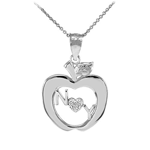 14k White Gold New York Big Apple Diamond Pendant Necklace, 18