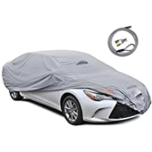 """Motor Trend TrueShield Waterproof Car Cover - Heavy Duty Outdoor Fleece-Lined Sonic Coating - Ultimate 6 Layer Protection (XL Up to 210"""" L)"""