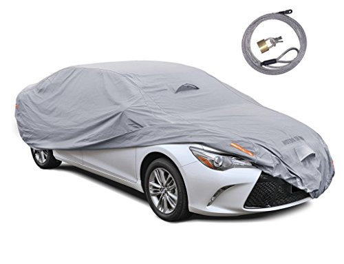 Motor Trend TrueShield Waterproof Car Cover - Heavy Duty Outdoor Fleece-Lined Sonic Coating - Ultimate 6 Layer Protection (Compact up to 157