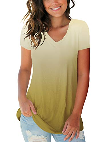 (Womens Summer Short Sleeve Tops Casual Loose Fitting Shirts Ombre Yellow)