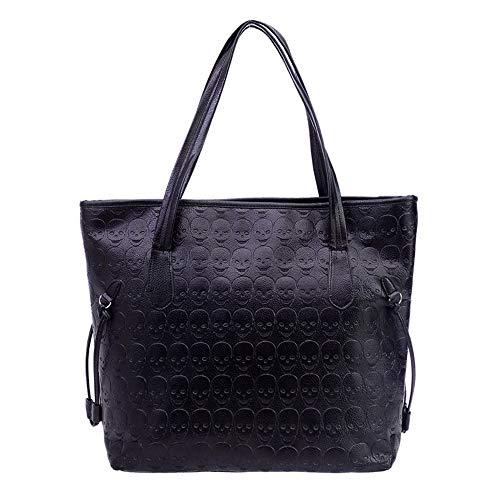 Birdfly Women Fashion Handbag Retro Skull Embossing Shoulder Bag Large Tote Purse Black