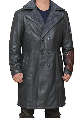 Suicide Squad Cast In Costume (Squad Captain Boomerang Grey Leather Costume Coat For Boys 2XL)