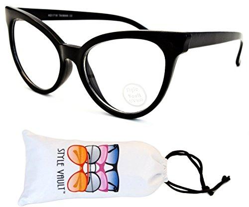 E27-vp Style Vault Cateye Eyeglasses Sunglasses (B2886F Black-Clear, - Glasses Trend Big Black