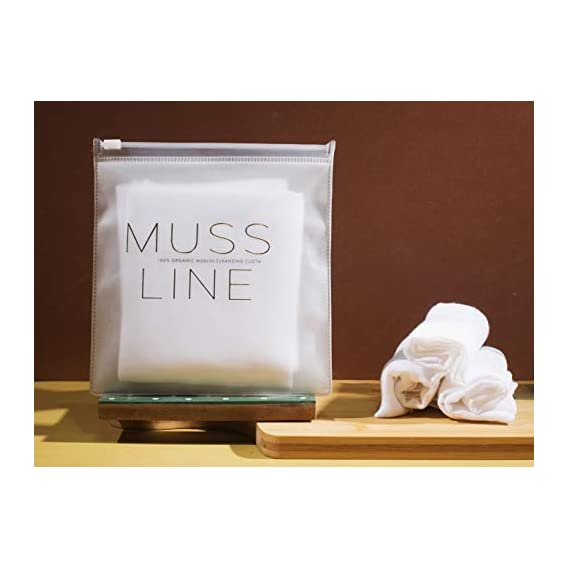 MUSS LINE 100% Organic Face Cleansing Muslin Cloth| Cotton Facial Cleansing Muslin Cloths for Face & Makeup Remover