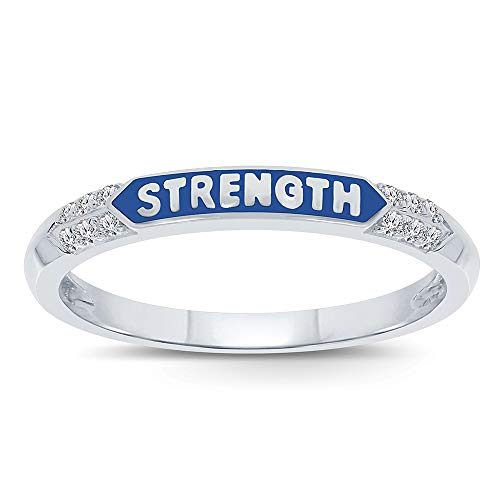 Round White Diamond Accent Sterling Silver Enamel Ring Band Love Hope Strength Stack Ring (Strength, 7) ()